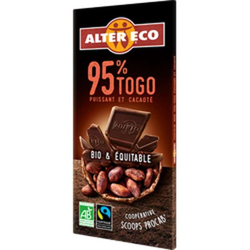 Chocolat noir 95% cacao Togo BIO, Alter Eco (90 g)