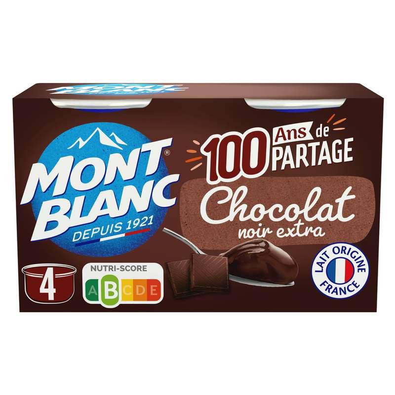Crème dessert chocolat extra noir, Mont blanc (4 x 125 g)
