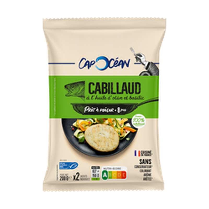 Steak de Cabillaud à l'huile d'olive et basilic prêt à poêler, Cap Océan (200 g)