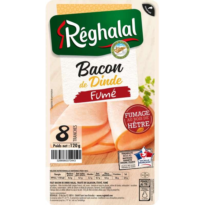 Bacon de dinde fumé, Reghalal (x 8 tranches, 120 g)
