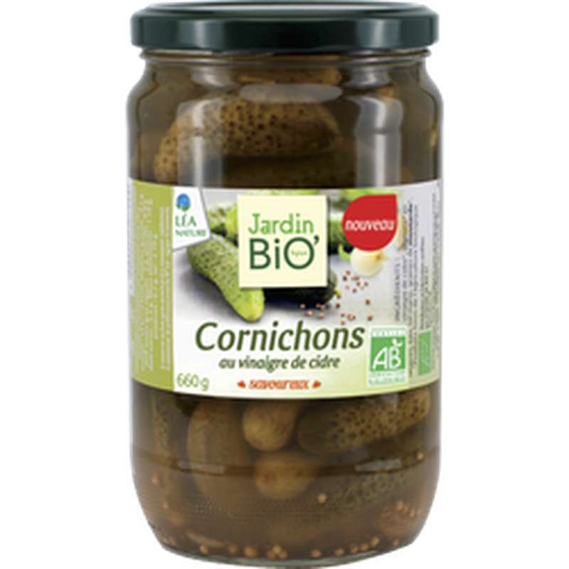Cornichons au vinaigre de cidre BIO, Jardin Bio (660 g)