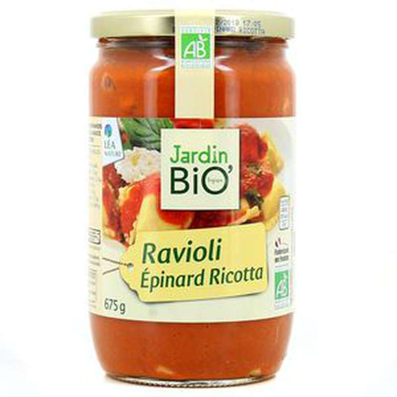 Plat cuisiné ravioli épinard ricotta BIO, Jardin Bio (675 g)
