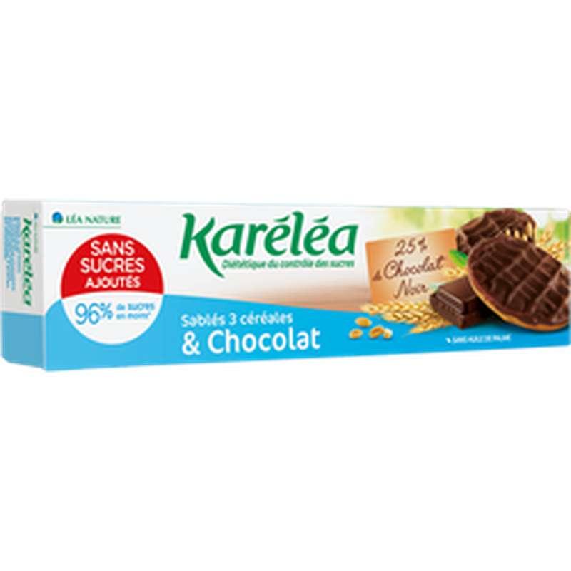 Sablés chocolat noir et 3 céréales sans sucres, Karelea (128 g)