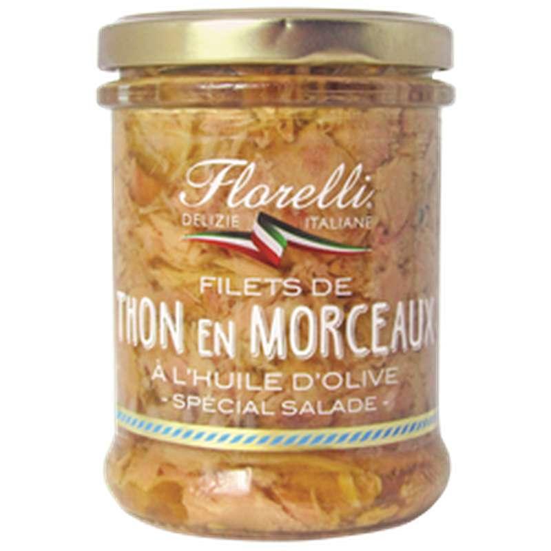Filets de thon en morceaux à l'huile d'olive, Florelli (200 g)