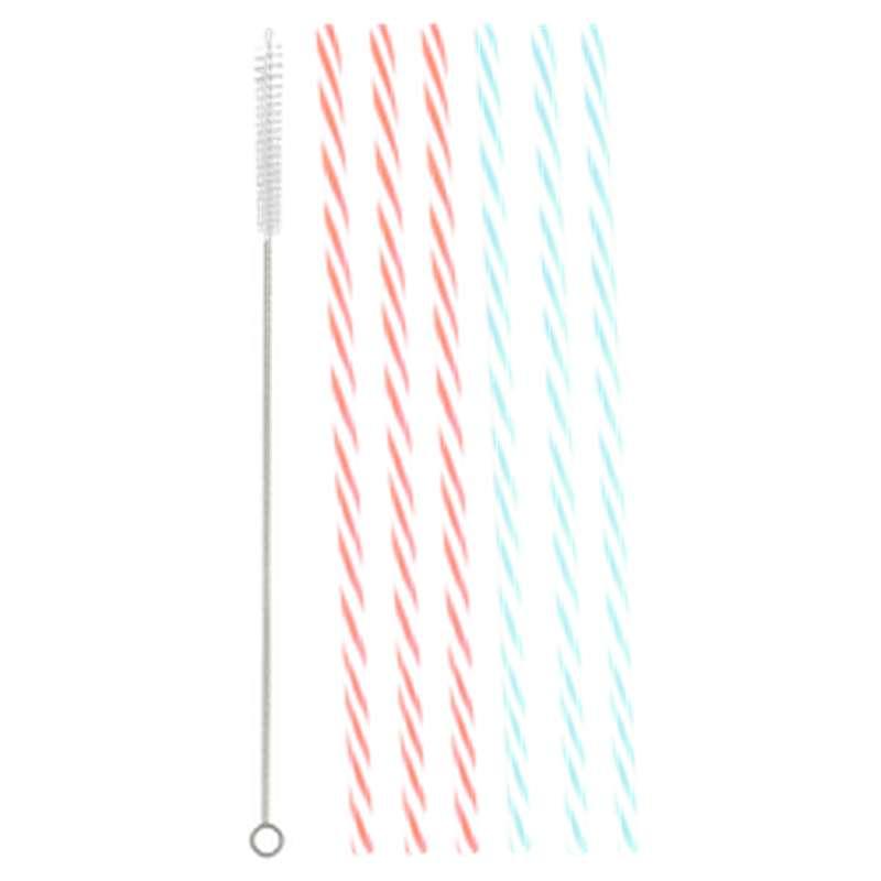 Pailles avec leur brosse de nettoyage aux coloris assorits (x 2)
