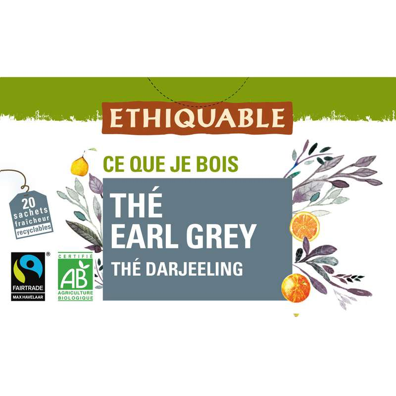 Thé Earl grey darjeeling BIO, Ethiquable (20 sachets)