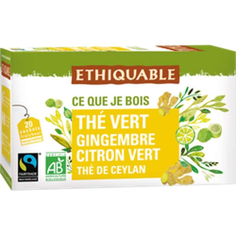 Thé vert gingembre citron vert Ceylan BIO, Equitable (36 g)