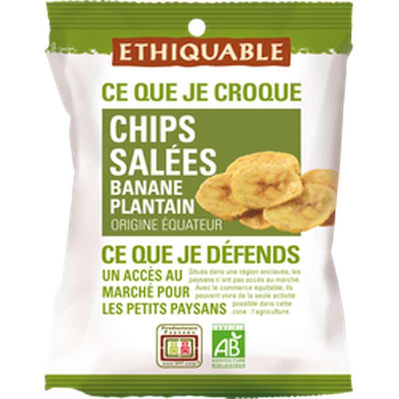 Chips salées de Banane plantain BIO, Ethiquable (85 g)