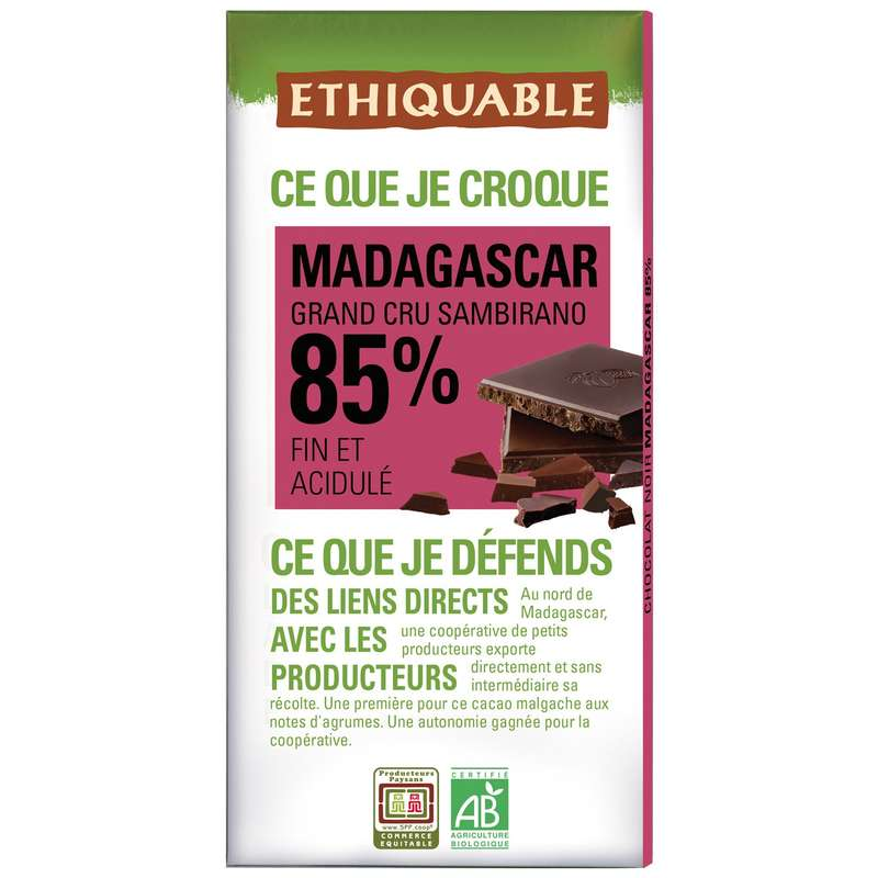 Chocolat 85% fin acidulé Madagascar BIO, Ethiquable (100 g)