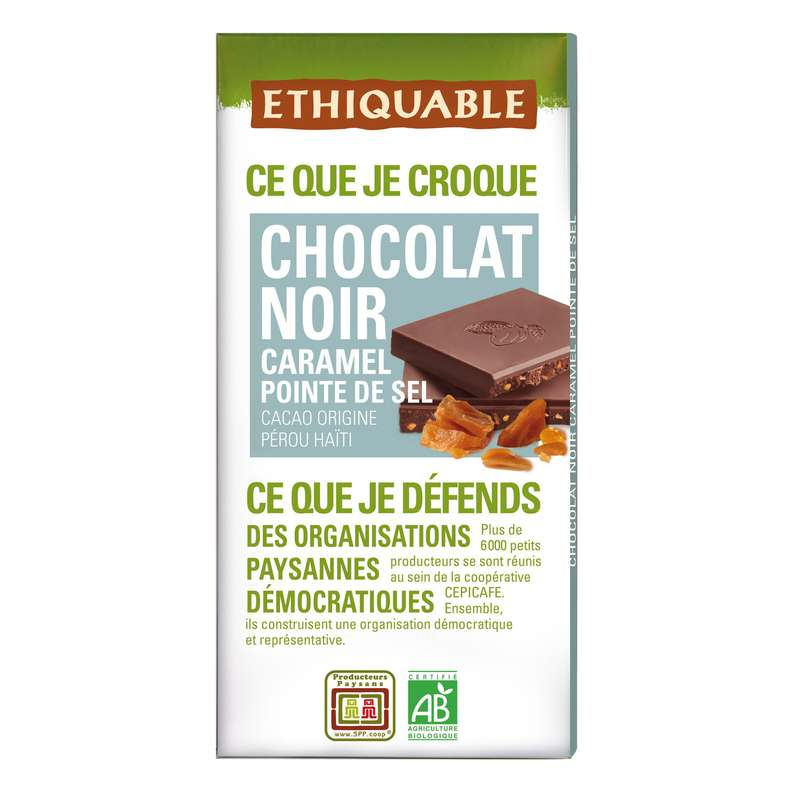 Chocolat noir caramel BIO, Etiquable (100 g)