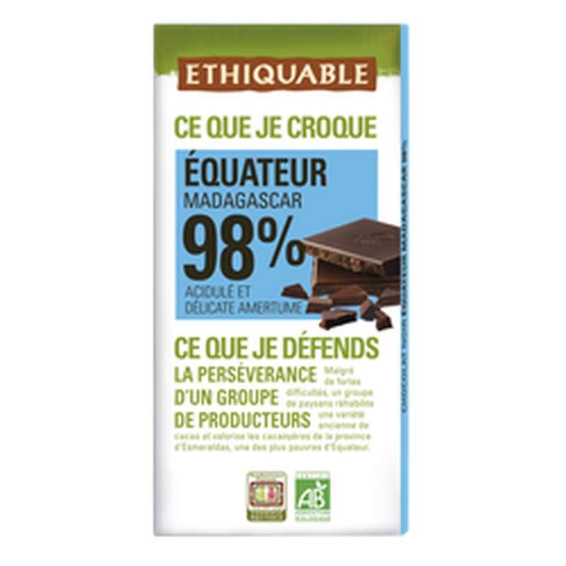Chocolat noir 98% Equateur Madagascar BIO, Ethiquable (100 g)