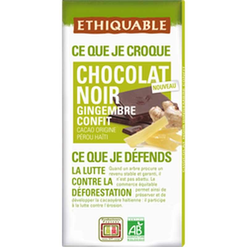 Chocolat noir et gingembre confit BIO, Ethiquable (100 g)