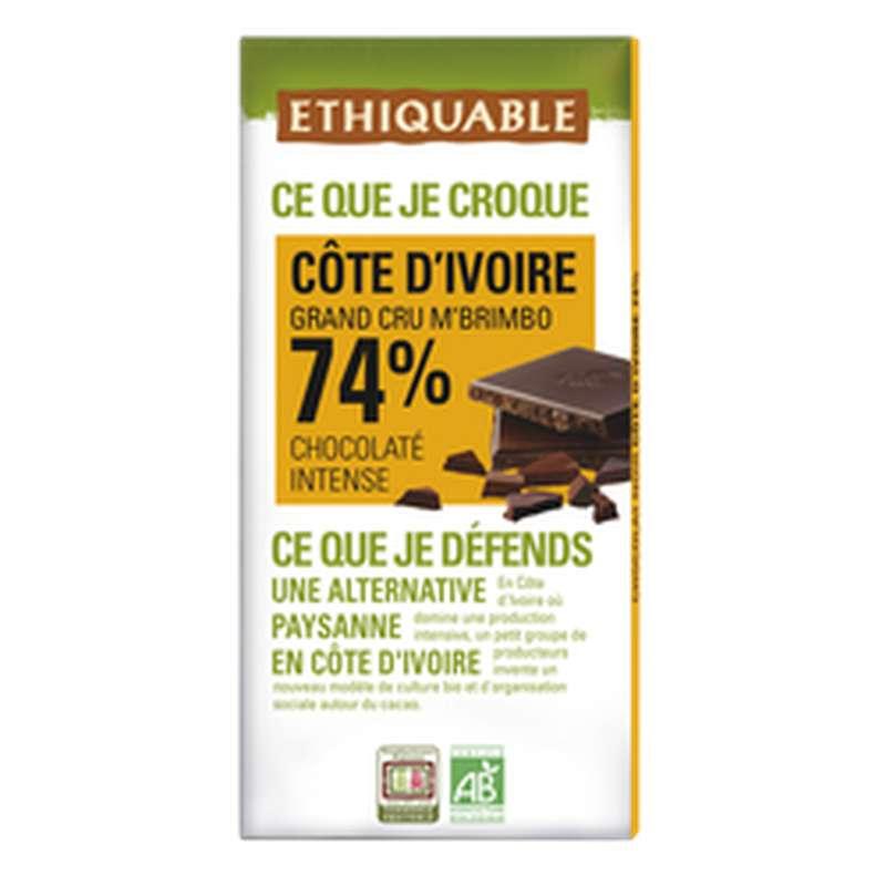 Chocolat noir 74% cacao Côte d'Ivoire BIO, Ethiquable (100 g)