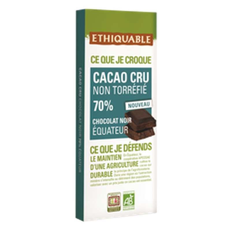 Chocolat noir 70% cacao Equateur BIO, Ethiquable (80 g)