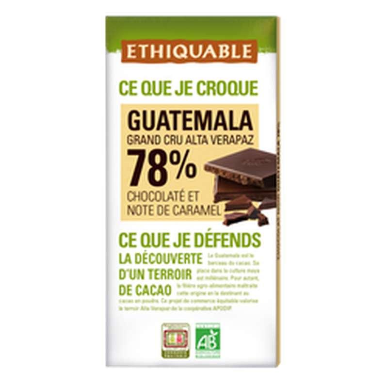 Chocolat noir 78% Guatemala BIO, Ethiquable (100 g)
