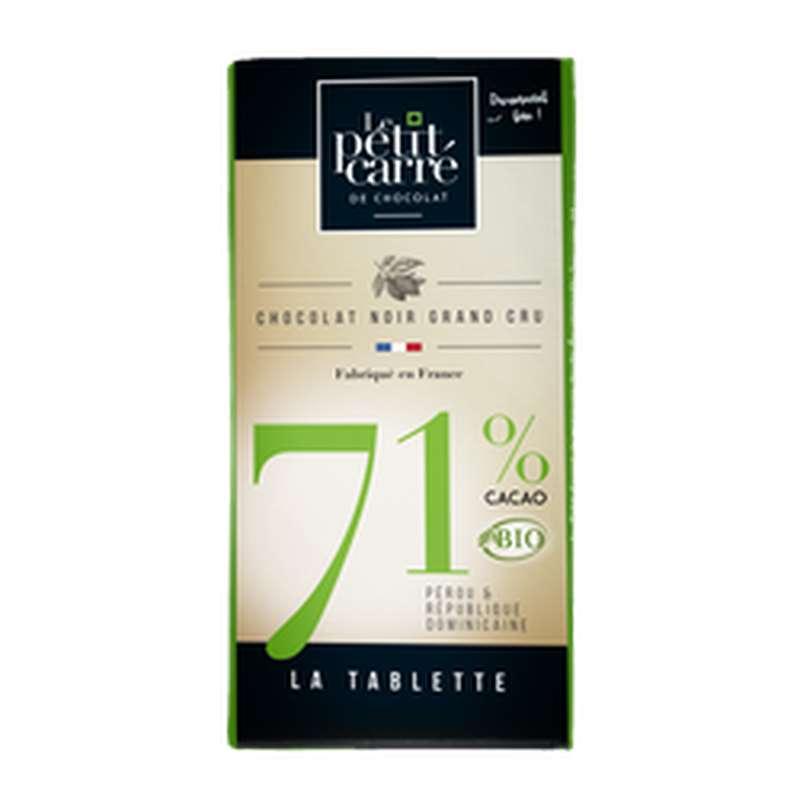Chocolat noir 71% de cacao BIO, Le Petit Carré de Chocolat (90 g)