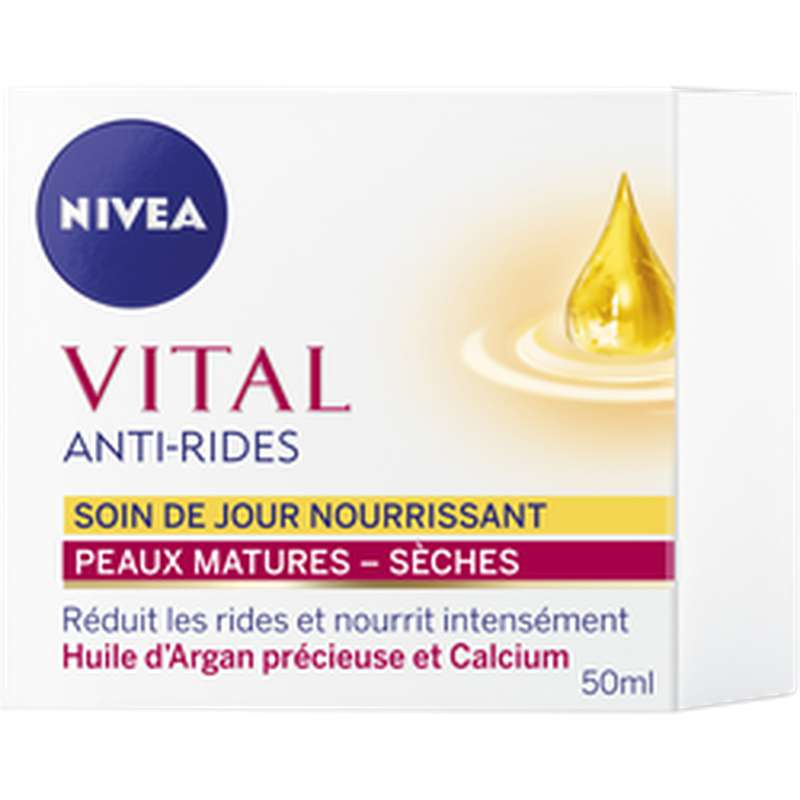 Soin de jour nourrissant anti-rides à l'huile d'Argan, Nivea (50 ml)