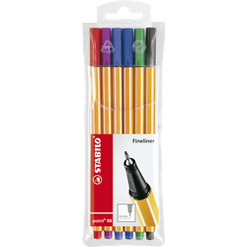 Stylos feutre pointe fine 0,4 mm coloris assortis, Stabilo (x 6)