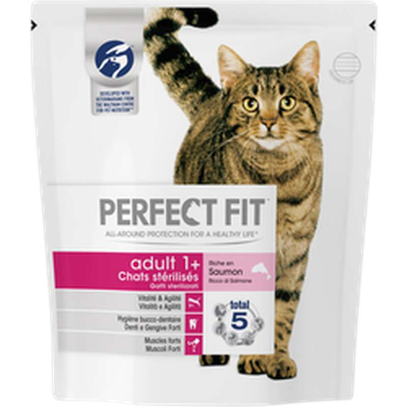 Croquettes pour chat adulte stérilisé au saumon, Perfect Fit (400 g)