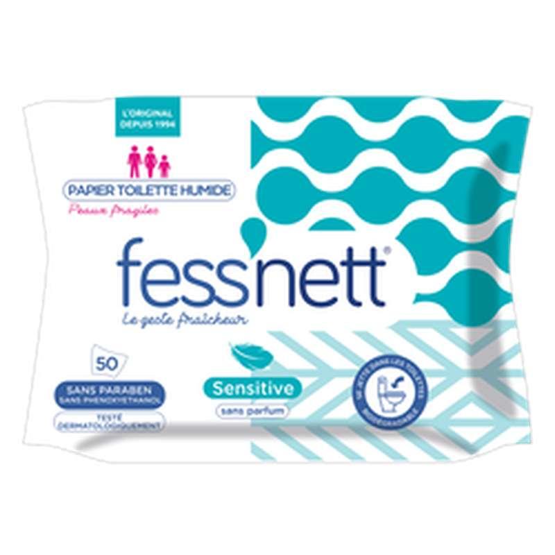 Lingettes papier toilette humides Sensitive, Fess'nett (x 50)