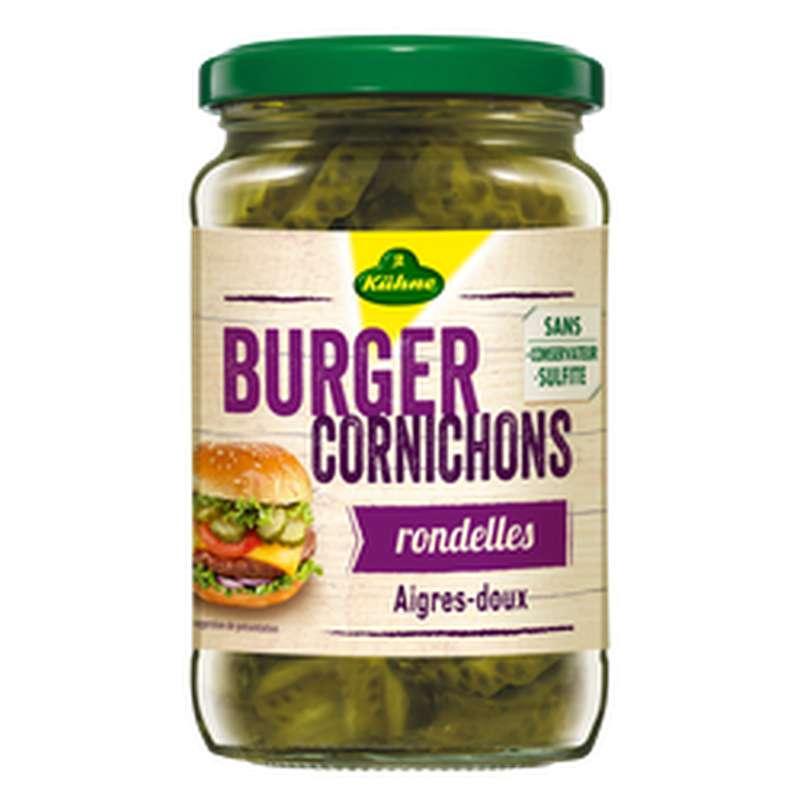 Cornichons aigre-doux en rondelles spécial Burger, Kuhne (185 g)