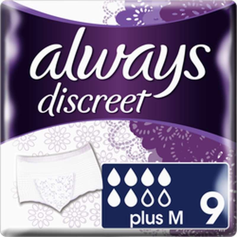 Culottes anti-fuites discreet Plus taille M, Always (x 9)