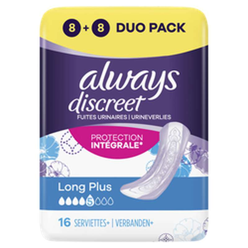 Serviettes pour incontinence Long plus, Always (x 16)