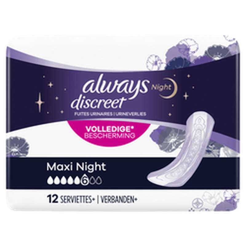 Serviettes pour incontinence maxi night, Always (x 12)