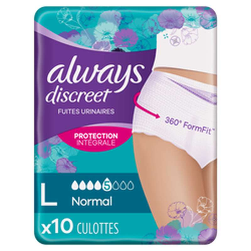 Culottes anti-fuites normal taille L, Always (x 10)