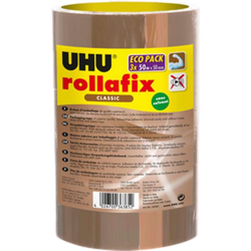 Rollafix ruban emballage brun, Uhu (3 x 50m)