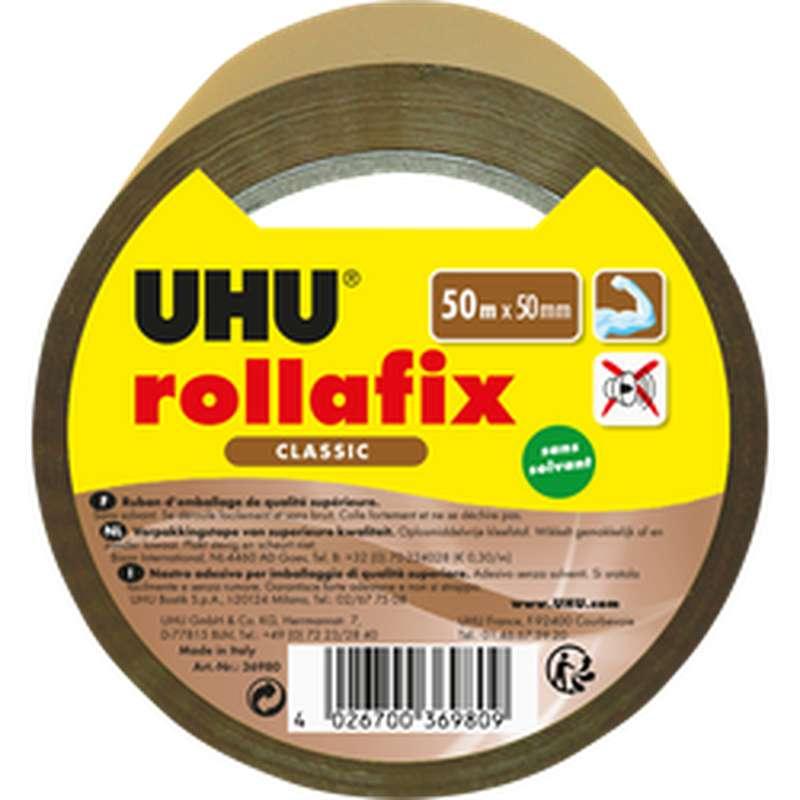 Ruban d'emballage brun Rollafix, UHU (50 m x 50 mm)