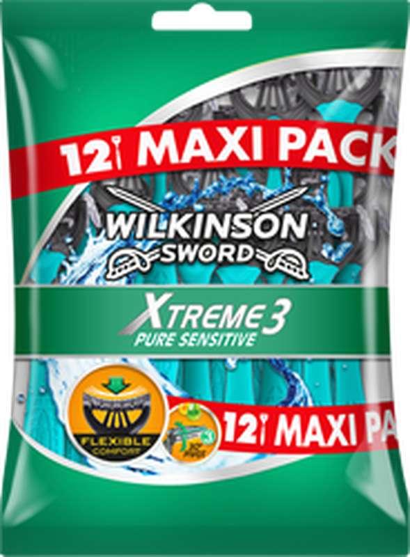Rasoirs jetables pour hommes Xtreme 3 Pure Sensitive, Wilkinson (x 12)