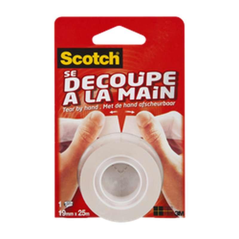 Ruban adhésif transparent découpe à la main, Scotch (25 m x 19 mm)