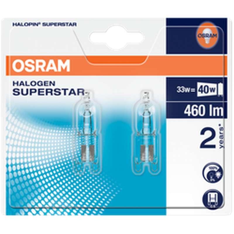 Ampoule capsule Halogène Super Star 33W culot G9, Osram (x 2)