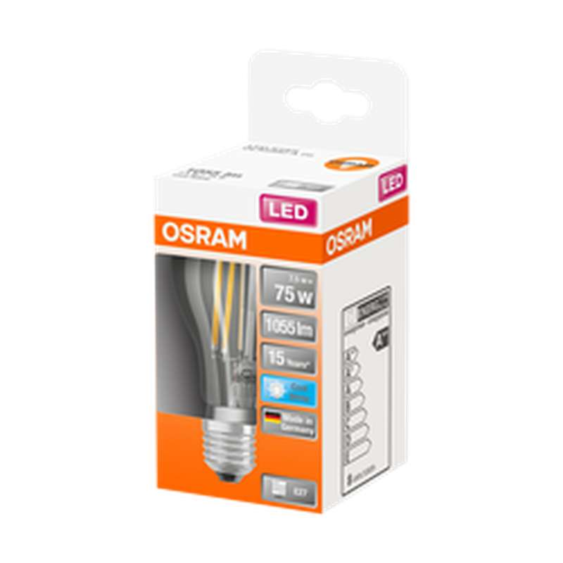Ampoule ronde LED à filament 75W culot à vis E27 - blanc froid, Osram (x 1)