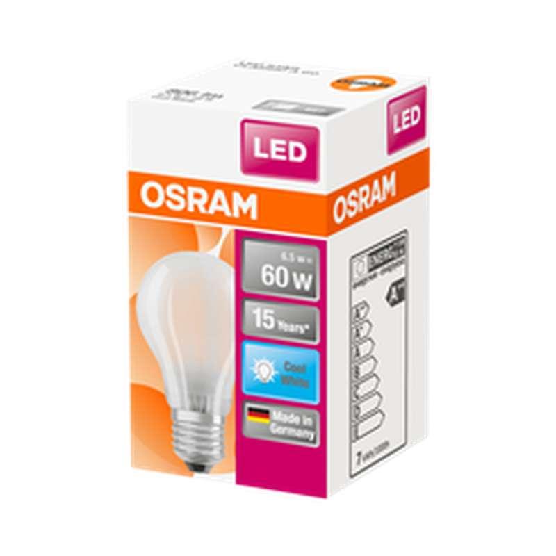 Ampoule dépolie ronde LED à filament 60W culot à vis E27 - blanc froid, Osram (x 1)