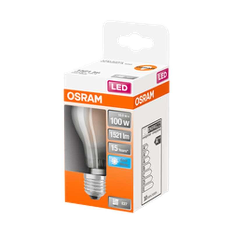 Ampoule dépolie ronde LED à filament 100W culot à vis E27 - blanc froid, Osram (x 1)