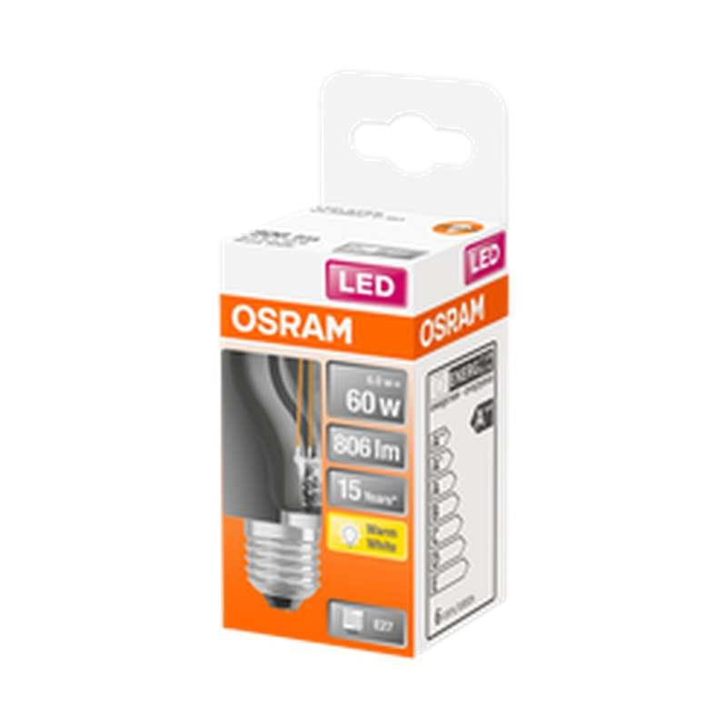 Ampoule sphérique LED à filament 60W culot à vis E27 - blanc chaud, Osram (x 1)