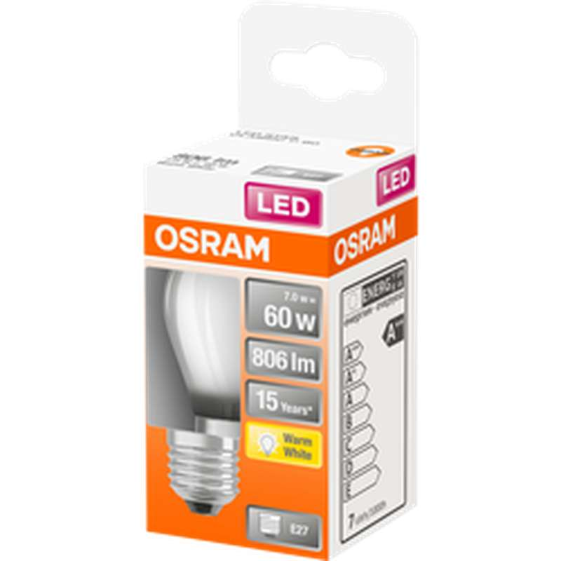Ampoule dépolie sphérique LED à filament 60W culot à vis E27 - blanc chaud, Osram (x 1)