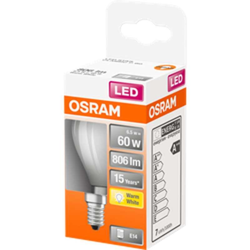 Ampoule dépolie sphérique LED à filament 60W culot à vis E14 - blanc chaud, Osram (x 1)