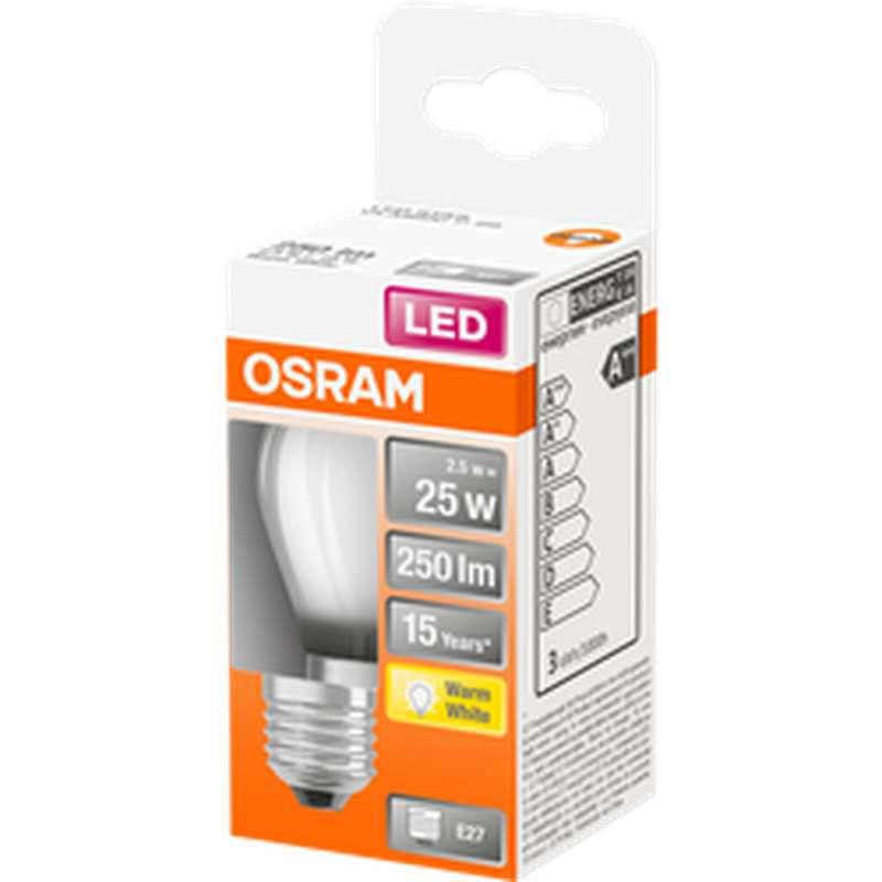 Ampoule dépolie sphérique LED à filament 25W culot à vis E27 - blanc chaud, Osram (x 1)
