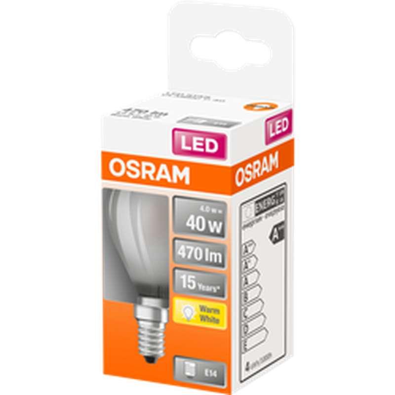 Ampoule dépolie sphérique LED à filament 40W culot à vis E14 - blanc chaud, Osram (x 1)