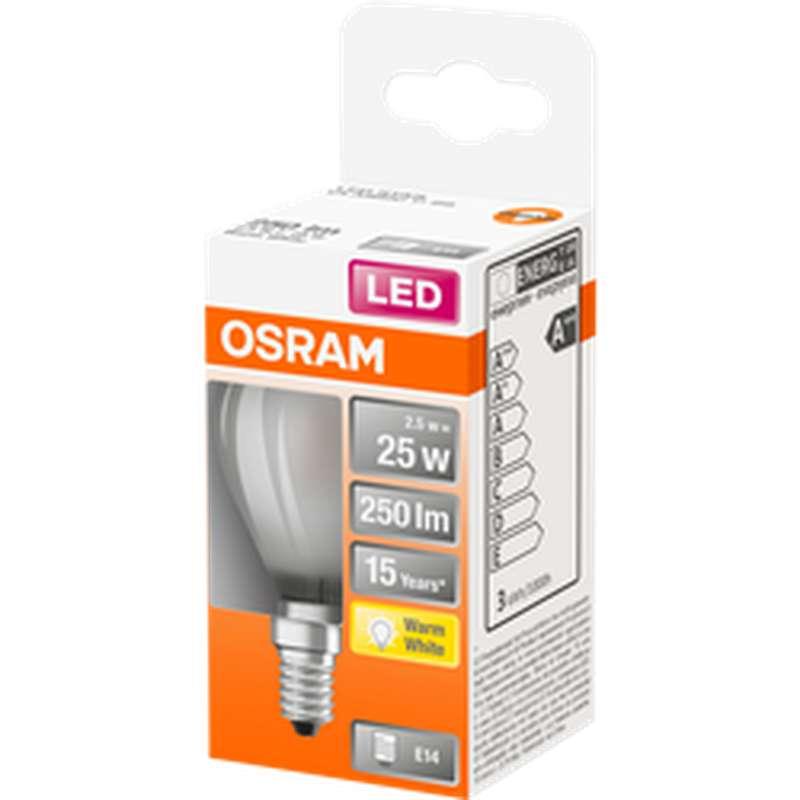 Ampoule dépolie sphérique LED à filament 25W culot à vis E14 - blanc chaud, Osram (x 1)