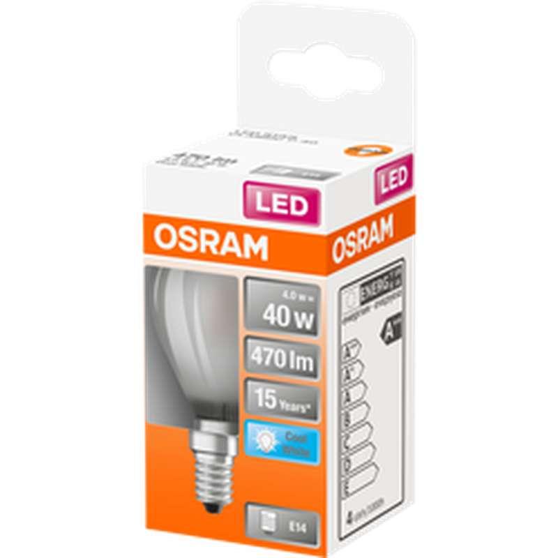Ampoule dépolie sphérique LED à filament 40W culot à vis E14 - blanc froid, Osram (x 1)