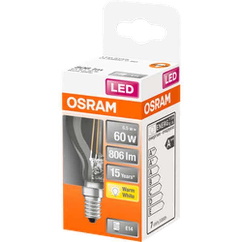 Ampoule sphérique LED à filament 60W culot à vis E14 - blanc chaud, Osram (x 1)
