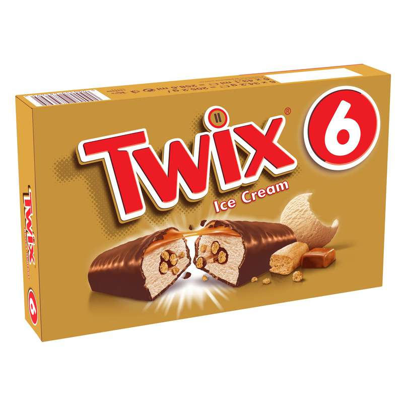 Barres glacées cœur croustillant Twix (x 6, 205 g)
