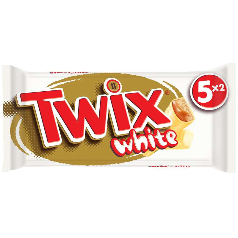 Barres chocolatées chocolat blanc biscuit nappage au caramel, Twix (230 g)
