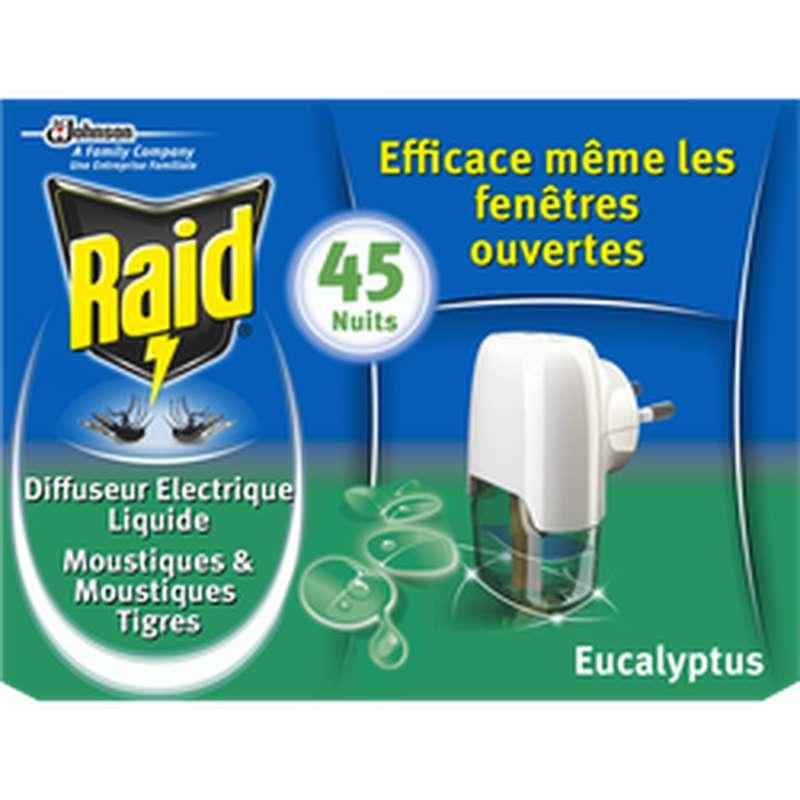 Diffuseur électrique liquide anti-moustiques parfum eucalyptus, Raid (45 nuits)