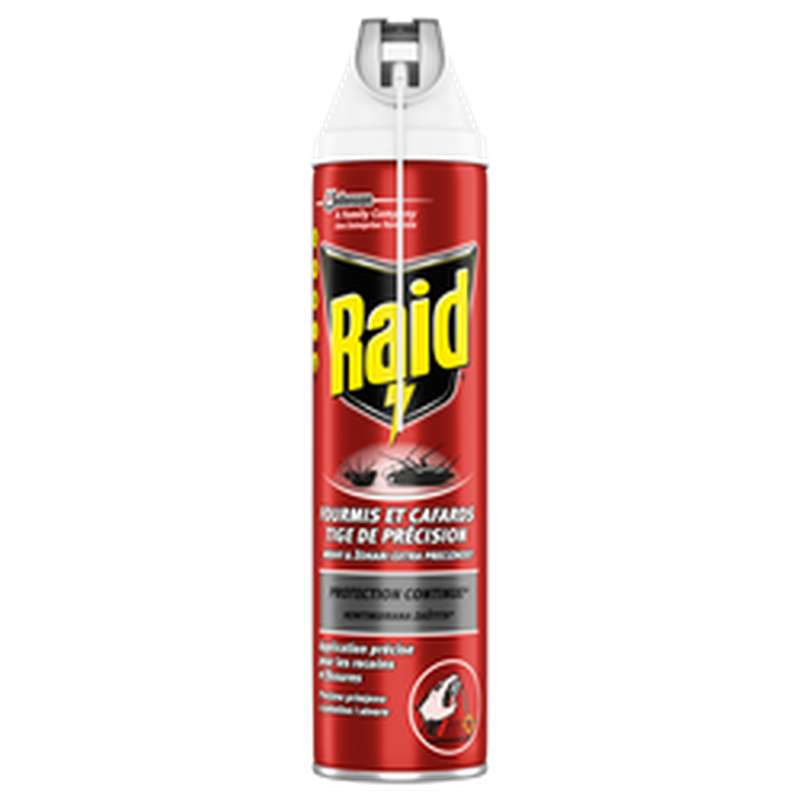 Spray insecticide anti-cafards et fourmis + tige de précision, Raid (400 ml)