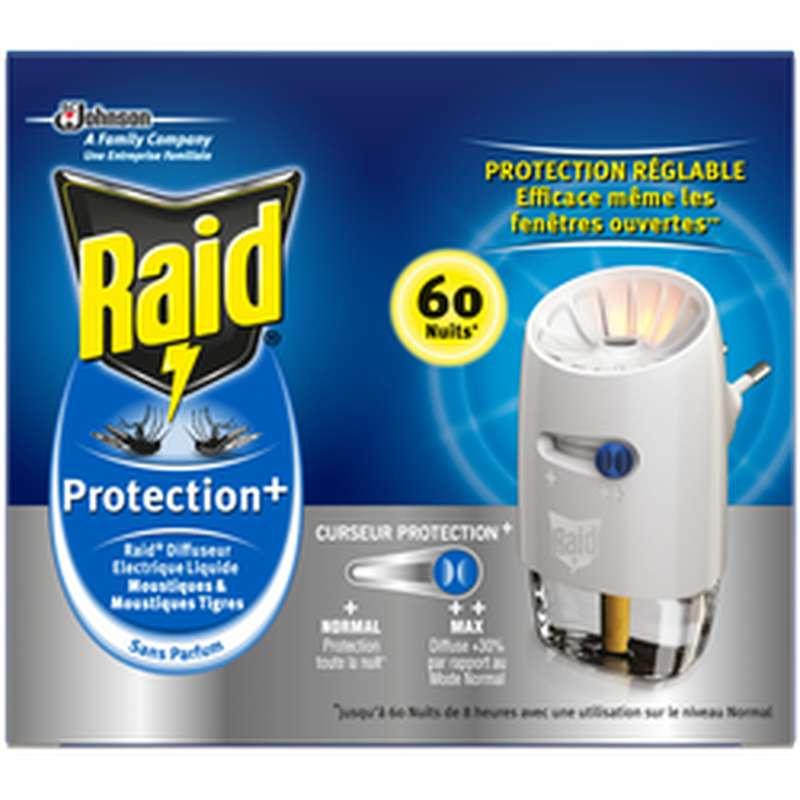 Diffuseur électrique liquide Protection+ réglable anti-moustiques, Raid (60 nuits)
